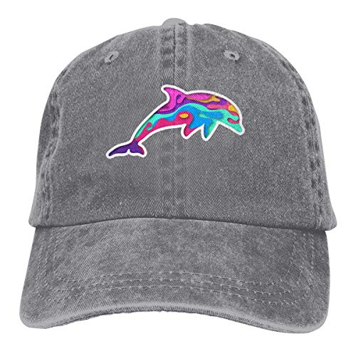 Colorful Dripping Dolphin Retro Adjustable Cowboy Denim Hat Unisex Hip Hop Black Baseball Caps