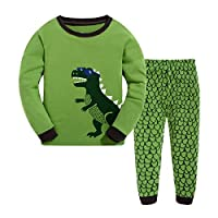 Masonanic Toddler/Kids Boys and Girls Cute Dinosaur Pajama Set 100% Cotton 2-7 Years (8T)