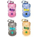 XXL Trinkflasche / Water Jug / Wasser Gallone / 2,2Liter Sportflasche bzw. Wasserflasche aus hochwertigen Tritan (BPA-frei) perfekt für Crossfit, Fitness, Bodybuilding, MMA & Krafttraining / schwarz