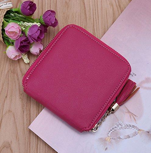 Dairyshop Sacchetto della moneta del supporto della carta di cuoio della signora delle donne di modo borsa della del raccoglitore (Viola) rosa caldo