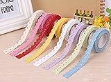 6 rollos de bricolaje auto-adhesivo del cordón Washi Tape ajuste de la cinta Cinta de tela de algodón de la decoración del arte del color mezclado