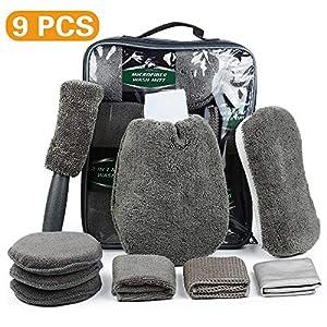 MEYUEWAL Auto Reinigungs Set 9 PCS, Autopflege Set Mikrofaser-Autowaschset für PKW, Motorrad und Küche, mit Reifenbürste, Waschhandschuhen, Schwamm, Waschpads, Mehrzweck-Reinigungstüchern (Grau)