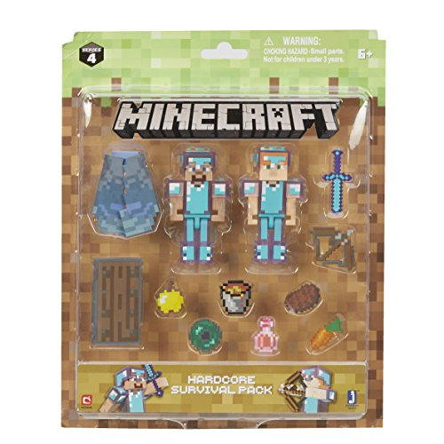 Minecraft - Figurine - Pack De Survie Hardcore Steve & Alex