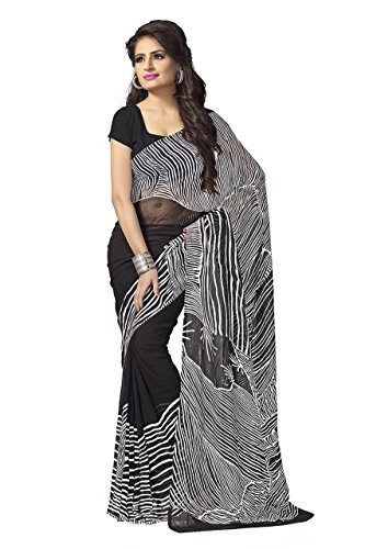 Kashvi Sarees Women's Faux Georgette Printed Saree (1128_black white)  available at amazon for Rs.269