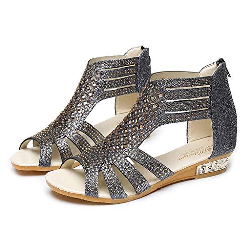 Sandalen Damen Kolylong Frauen Elegant Strass Sandalen Flach Vintage Reißverschluss Römische Sandalen Wedge Sandaletten Sommer Strandschuhe Freizeitschuhe