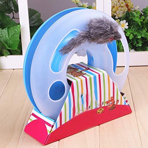 Fun Roller, Katze Roller Spielzeug Turm mit Bell Balls Toy Spring Mouse Lustige Puzzle Intelligenz Spiele Spielzeug für Katzen, blau ()