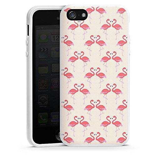 Apple iPhone 4 Housse Étui Silicone Coque Protection Flamand rose Rose vif Été Housse en silicone blanc