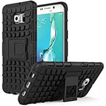 Galaxy S6 Edge+ Plus Funda - MoKo Heavy Duty Rugged Dual Layer Armor with Kickstand Protective Cover para Samsung Galaxy S6 Edge + 2015 Smartphone, Negro (Will Not Fit Galaxy S6 Edge)