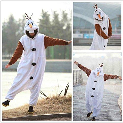 (Frozen Olaf Snonman, Unisex-Erwachsene Kostüm Kostüm Schlafanzug Einteiler)
