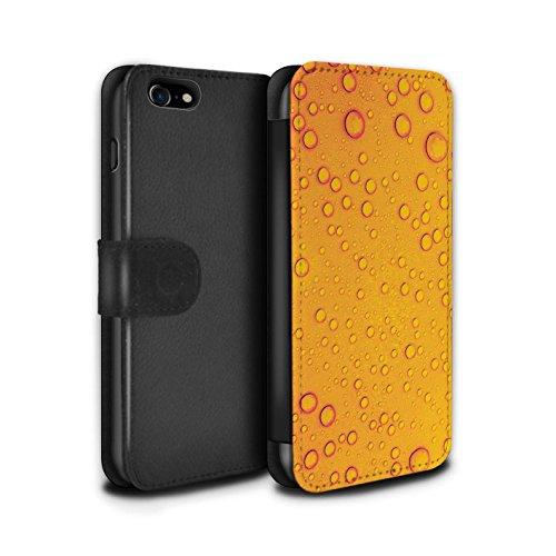 Stuff4 Coque/Etui/Housse Cuir PU Case/Cover pour Apple iPhone 8 / Vert/Orange Design / Gouttelettes Eau Collection Orange/Jaune
