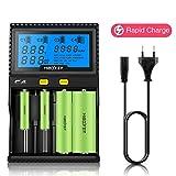 Miboxer C4 LCD-Display Speedy Universal-Ladegerät Universal-Quad-Akku 18650 RCR123 Ladegerät 4-Slot-LCD-Bildschirm mit EU-Ladegerät Kabel für Li-Ion / IMR / INR / ICR / Ni-MH / Ni-Cd / LiFePO4 wiederaufladbar(Enthält keine Batterie)