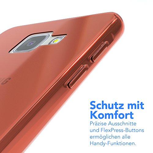 Samsung Galaxy A5 (2016) Hülle - EAZY CASE Ultra Slim Cover TPU Handyhülle Matt - dünne Schutzhülle aus Silikon in Transparent / Weiß Clear Orange