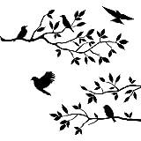 Daorier Un ensemble de Branches d'arbres et oiseaux Autocollant Mural Stickers muraux Créatif Imperméable Amovible Décorations Stickers Décoration de Maison