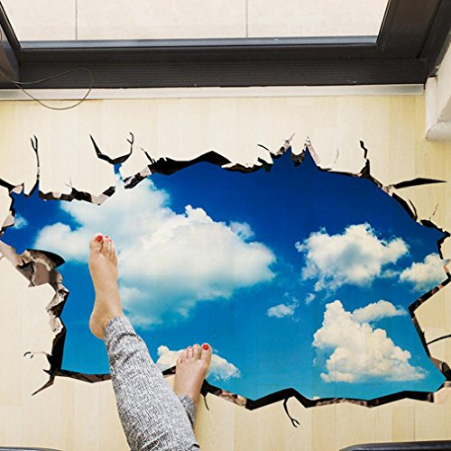 Indexp 3D Removable Bridge Sky Moon Beach Floor/Wall Sticker Vinyl Art Living Room Decors Decals (Style B)