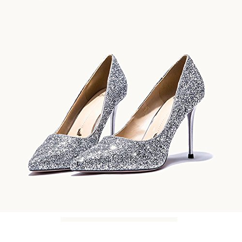 YIXINY Zapatos de tacón Brillante Zapatos De Mujer Zapatos De Tacón Alto Vestido Fiesta Citas Zapatos De Novia Talón 9cm ( Color : La Plata , Tamaño : EU39/UK6/CN39 )