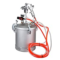 MosaicAL Pressure Feed Spray Gun 2.5 Gallons 10L Capacity Paint Pressure Tank with Regulator Spray Gun with 1.5 MM Nozzle Paint Sprayer for Large Volume Painting (10L Capacity)