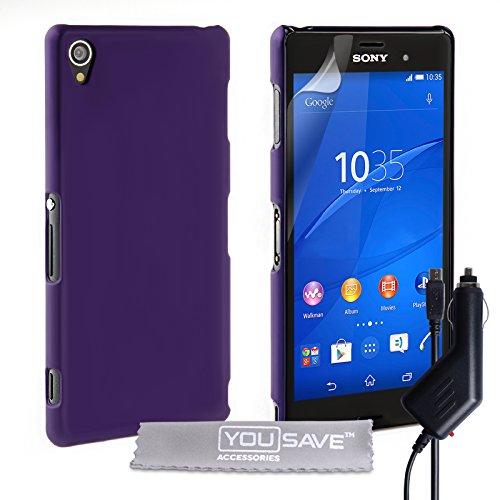 Yousave Accessories® Custodia Duro Ibrido con Caricabatteria da Auto per Sony Xperia Z3, Vio