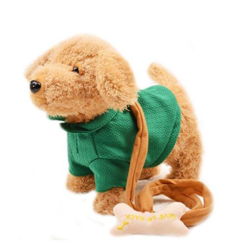 Meliya Walking Singing Electronic Plush Dog Puppy Toy Robot Dog with Screw and Dog Rope Christmas Gift (Brown&Green)