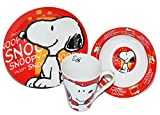 Gialamas Peanuts Snoopy 3-Piece Breakfast Set Made of Porcelain