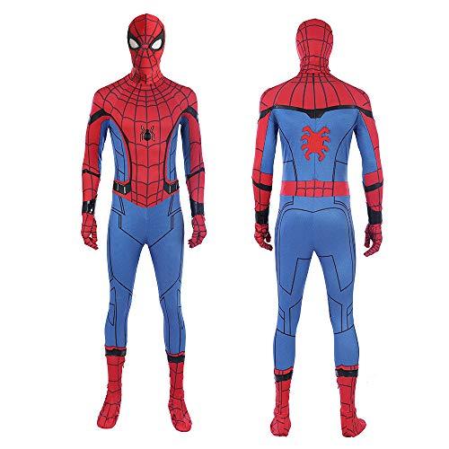 Jungen Superheld Spider Man Homecoming Far from Home Kostüme Unisex Erwachsene Kinder Spiderman Tom Holland Overall Body Lycra Spandex Zentai Halloween Cosplay Kostüme,Adult-XL(Height65-67Inch)