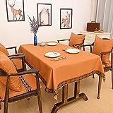 CCILOVE Mantel de lino estilo moderno minimalista encajes de paño de color sólido,amarillo profundo,120*160 cm