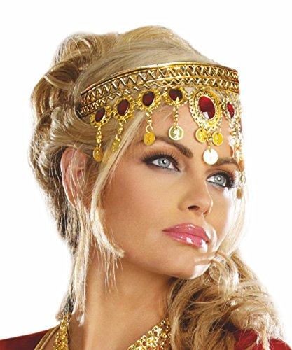 Stirnbandkette Bollywood rot-gold Haarschmuck Kette Zubehör Fasching