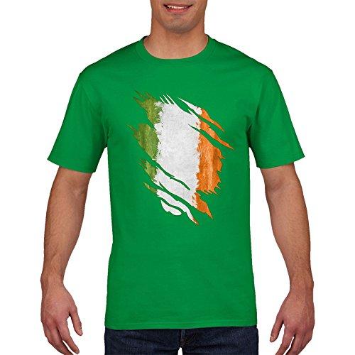 FunkyShirt Ireland Rugby T Shirt - Irish, ST Patricks Day, Torn Shirt Design, 6 Nations Rugby, Small Medium Large XL XXL