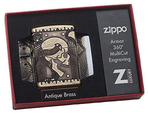 51UvxYlsB9L - Zippo Unisex's Armor Steam Punk Skull Lighter, Antique Brass, regular