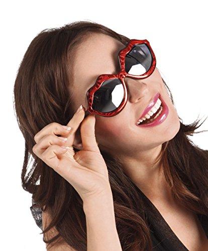 (erdbeerclown - Kussmund Brille Kostüm Sonnenbrille, Rot)