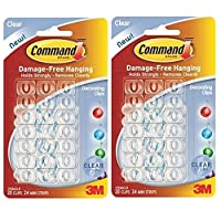 3M COMMAND Christmas Xmas Fairy Light Hooks Clear [Twin Pack] SELF Adhesive Hooks & Strips