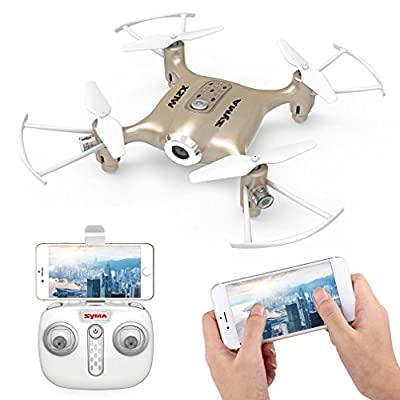 Syma X21W Mini FPV Drone with WIFI Camera Live Video 2.4GHz 4CH 6-Axis Gyro APP Control Quadcopter with Flight Plan, Altitude Hold, 3D Flips, Headless Mode, One Key to Return and LED Lights by Syma