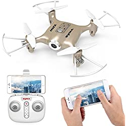 Syma X21W Drone Mini RC con Cámara WIFI FPV 2.4GHz 4CH 6-Axis Cuadricoptero con Retención de Altitud, Plan de vuelo, Control de APP, Modo Sin Cabeza, Rotación de 360° y Luz LED