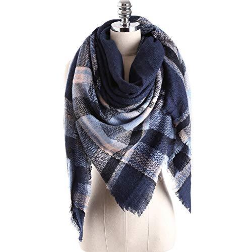 Bakicey XXL Damen schal dick strickschal karo Halstuch scarf poncho cape warm neu Winterschal Herbstschal Deckenschal weich karoschal, 140 * 140cm (04)
