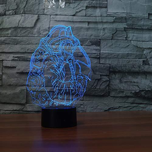 wangZJ 3d Visuelle Illusion Lampe / 7 Farbwechsel Nachtlichter/wohnkultur/Kinder Schlafzimmer/Led Kunst/geburtstag Spielzeug/Feuerwehrmann -