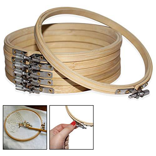 Curtzy Stickrahmen 6 Stück - 15 cm Bambusholz Stickrahmen rund - verstellbare Kreuzstich Embroidery Hoops/Holzrahmen zum Basteln, Sticken, Nähen und DIY (6 Pcs)
