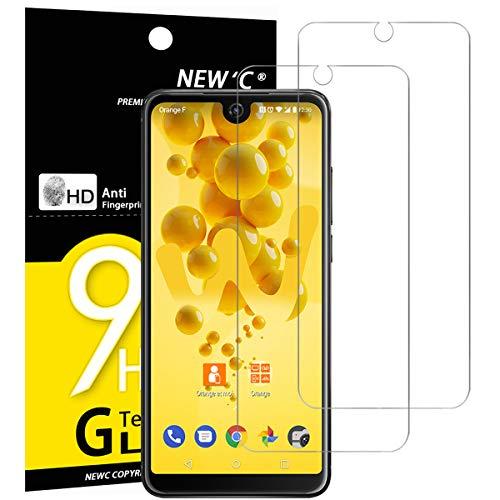 New'c pacco da 2 pezzi, pellicola protettiva in vetro temperato per wiko view 2