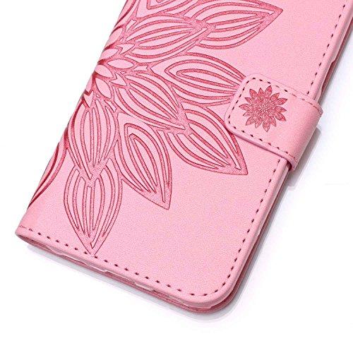 Coque pour iPhone 7 (4,7 zoll),Housse en cuir pour iPhone 7 (4,7 zoll),Ecoway Embossing étui en cuir PU Cuir Flip Magnétique Portefeuille Etui Housse de Protection Coque Étui Case Cover avec Stand Sup Demi-fleur(rose)