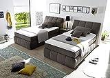 Boxspringbett 120x200 mit Bettkasten, Farbe: Stone, Grau, inkl Visco Topper, Matratze: 7-Zonen-Tonnentaschenfederkern, Bett von Möbel-BOXX