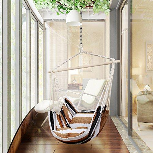 Holifine sedia sospesa amaca dondolo della giardino e campeggio, amaca poltrona portata 100 kg / 220 lbs - colore: marrone