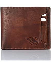 RUGE Men's Antique Brown Genuine Leather Wallet