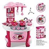 #3: Techhark Little Chef Kids Kitchen Play Set with Light & Sound Cooking Kitchen Set Play Toy (31 PCS Pink FBA)