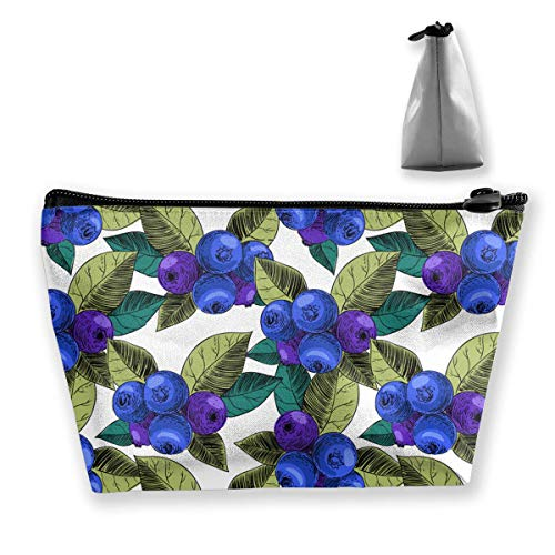 Blueberry Berries Women Cosmetic Bags Portable Pouch Trapezoidal Storage Bag  Travel Bag with Zipper 81412a5f09453