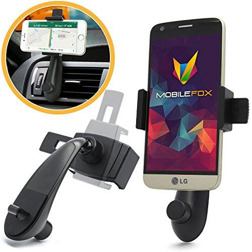 Mobilefox Delfin Lüftungsgitter Halterung Auto LG V10/V20/Class schwarz Handy KFZ Lüftungs Schlitz / Lamellen Halter