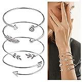 suyi 4 Stück Verstellbare Manschette Armband offenen Draht Armreif stapelbar Wrap Armband Set für Frauen Mädchen Silver