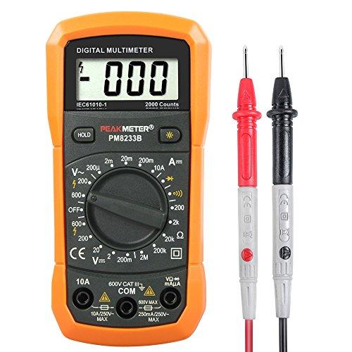 LOMATEE Digital Multimeter Voltmeter Amperemeter Ohmmeter LCD Multi Tester Messgerät für AC / DC Sapnnung, Strom, Widerstand, Dioden, Transistor für Elektriker, Bastler und Familien (Co-detektor Ac)