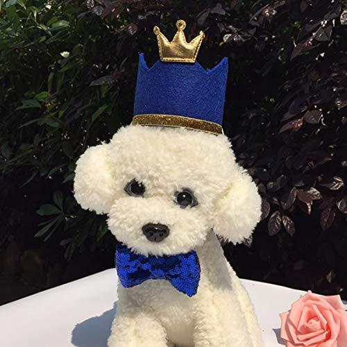 Hotumn Hund Geburtstag Krone Hut mit Fliege verstellbar Haustier Party Blau Hut Geburtstag Dekorationen Set für Katzen Kleine Tiere, blau