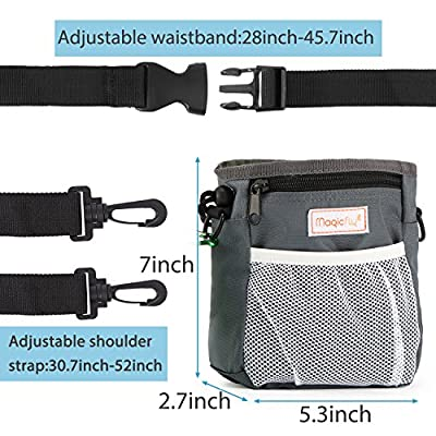 Magicfly Dog Traning Bag Pouch with Collapsible Travel Pet Bowel & Dog Clicker, Adjustable Belt With Dog Treat Pouch Built-In Poop Bag Dispenser 3 Ways To Wear – Grey from Magicfly