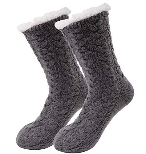 Bwiv Calcetines Mujer Gruesos Calcetines de Piso de Alfombra Antideslizante Cómodo Calentito Dibujos Lindos Forro de Polar Invierno Calcetines y Medias para Mujer Gris