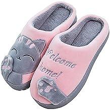 90dbc0f19b Cliont Zapatillas de Gato Lindo Zapatillas de Invierno de Interior Zapatos  Antideslizantes Mujeres y Hombres