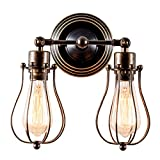 Vintage Wall Lights Adjustable Socket Industrial Lighting Rustic Wire Metal Cage Sconces Indoor Home Wall Lamp Retro Light Fixture (2-Light Lamp Base) (Bronze)